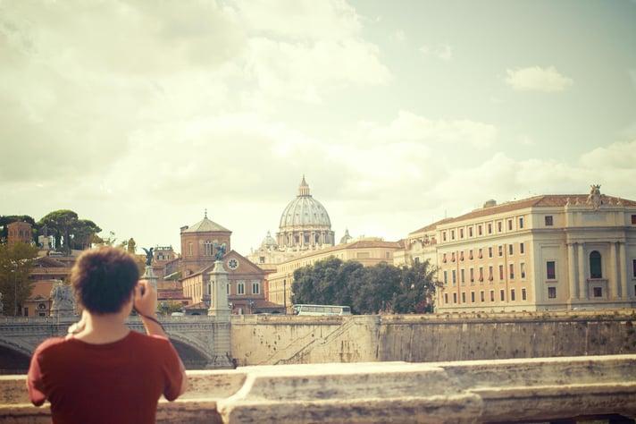 Tourist taking photo of landmark