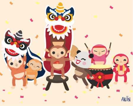 cute CNY monkeys doing the lion dance for akin!