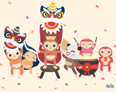cute CNY monkeys doing the lion dance for akin!